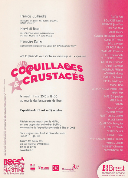 carton, coquillage et crustacés, verso, 2010