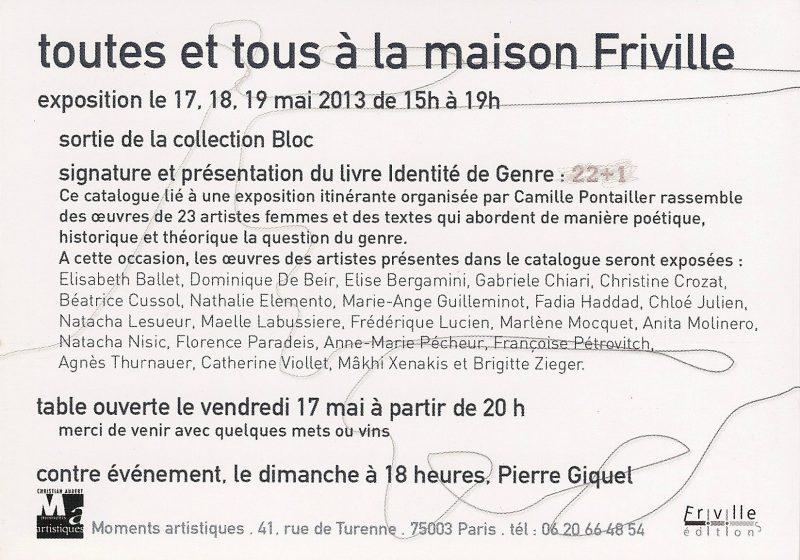 carton, toutes et tous à la maison Friville, 2013, verso