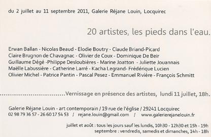 carton, 20 artistes les pieds dans l'eau, verso, 2011