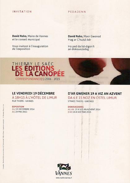 éditions de la canopée, verso, 2014