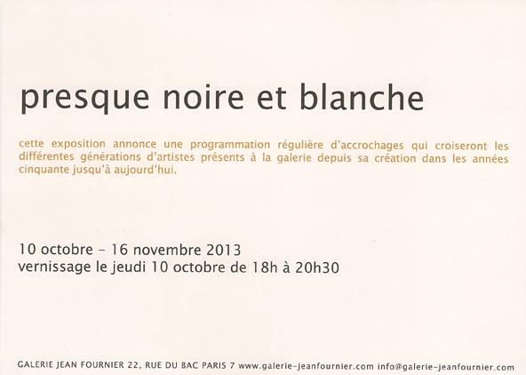 carton, presque noire et blanche, verso 2013,